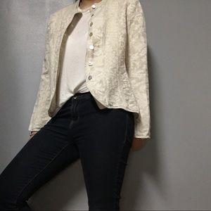 J. JILL • Linen Blend Floral Blazer Jacket